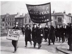 Bud Fisher Leading the National Unemployed Workers Movement Across the Town Bridge